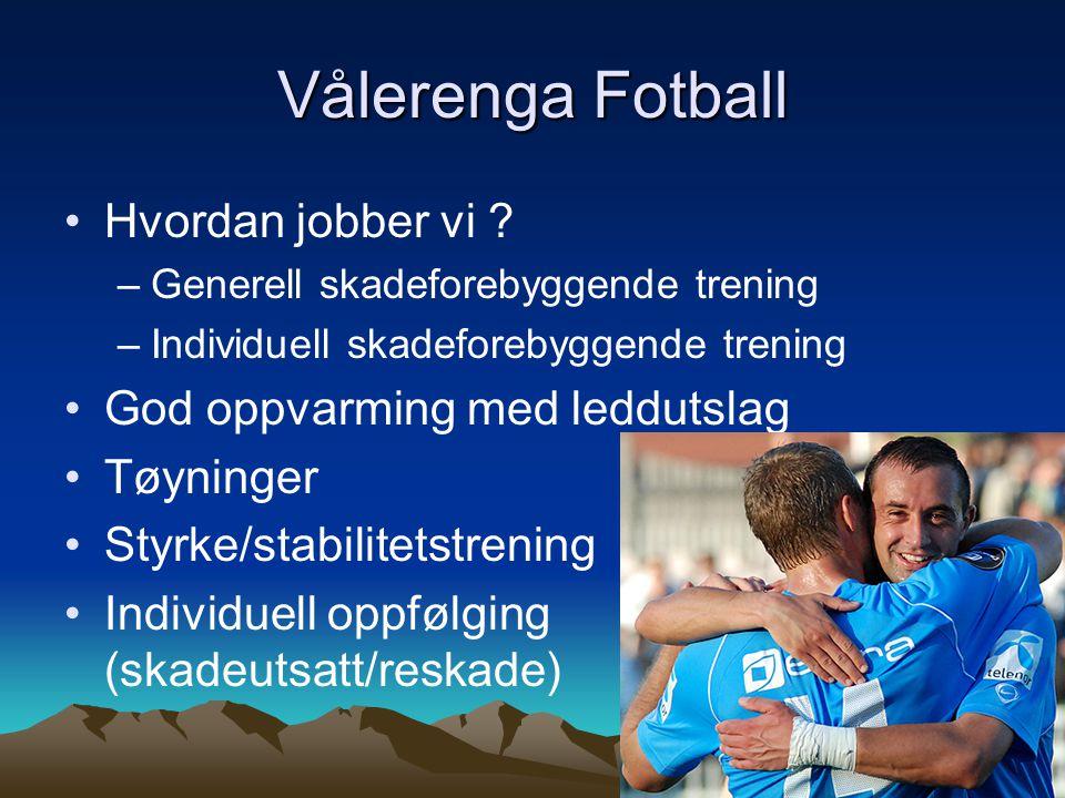 Vålerenga Fotball Hvordan jobber vi ? –Generell skadeforebyggende trening –Individuell skadeforebyggende trening God oppvarming med leddutslag Tøyning