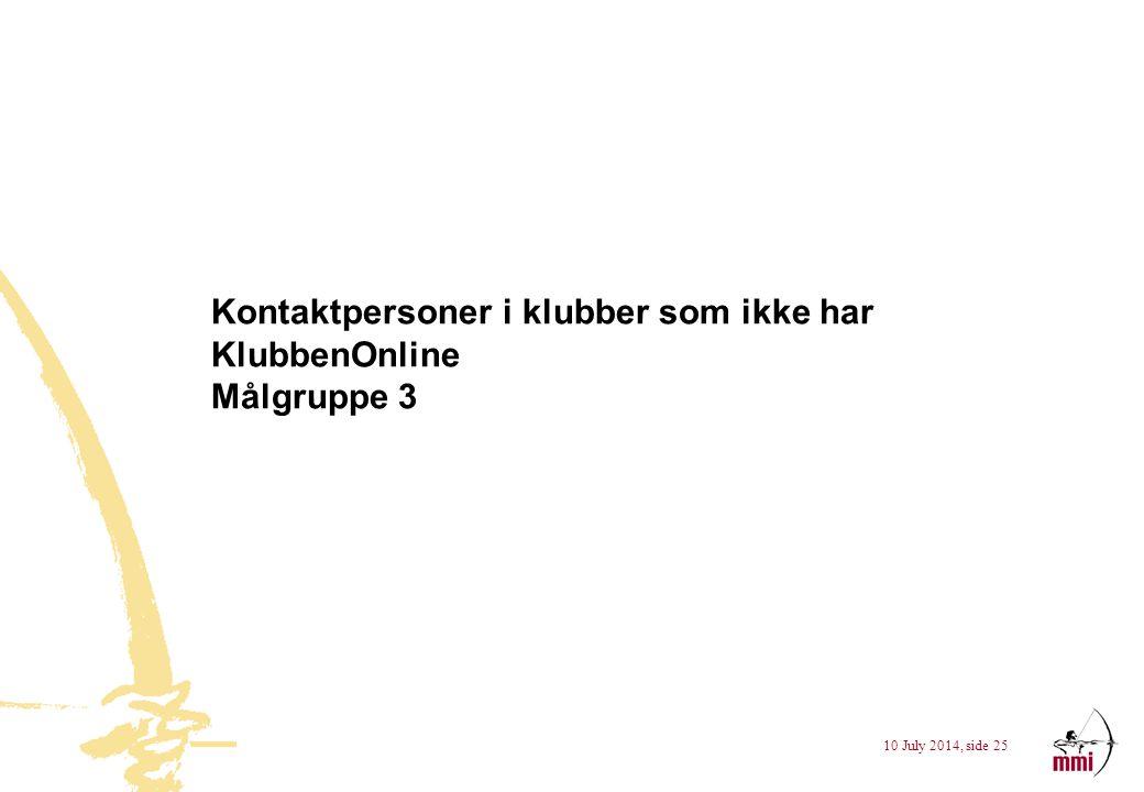 10 July 2014, side 25 Kontaktpersoner i klubber som ikke har KlubbenOnline Målgruppe 3