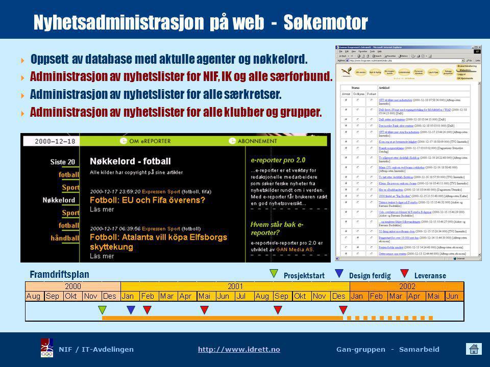 NIF / IT-Avdelingen http://www.idrett.no Gan-gruppen - Samarbeidhttp://www.idrett.no Framdriftsplan ProsjektstartDesign ferdigLeveranse Nyhetsadministrasjon på web - Søkemotor  Oppsett av database med aktulle agenter og nøkkelord.