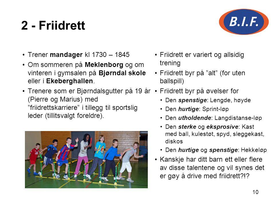 10 Trener mandager kl 1730 – 1845 Om sommeren på Meklenborg og om vinteren i gymsalen på Bjørndal skole eller i Ekeberghallen. Trenere som er Bjørndal