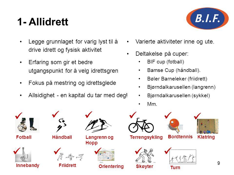 9 1- Allidrett Legge grunnlaget for varig lyst til å drive idrett og fysisk aktivitet Erfaring som gir et bedre utgangspunkt for å velg idrettsgren Fo