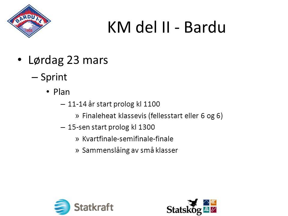 KM del II - Bardu Lørdag 23 mars – Sprint Plan – 11-14 år start prolog kl 1100 » Finaleheat klassevis (fellesstart eller 6 og 6) – 15-sen start prolog kl 1300 » Kvartfinale-semifinale-finale » Sammenslåing av små klasser