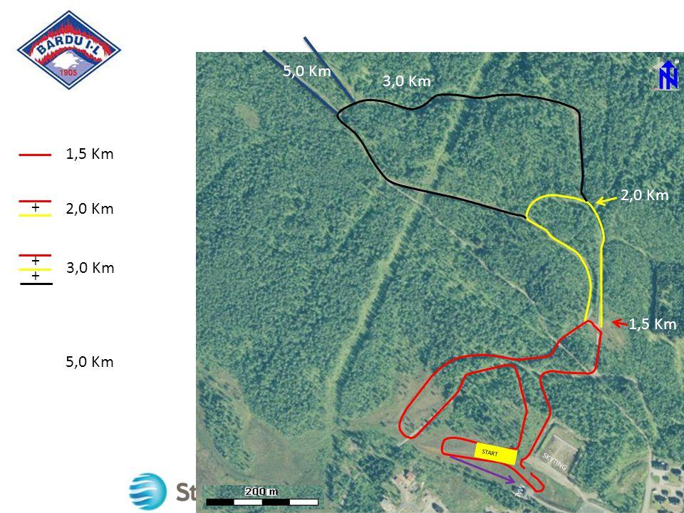 1,5 Km 2,0 Km 3,0 Km + + + 1,5 Km 2,0 Km 3,75Km MÅL SKYTING 5,0 Km START 3,0 Km 5,0 Km