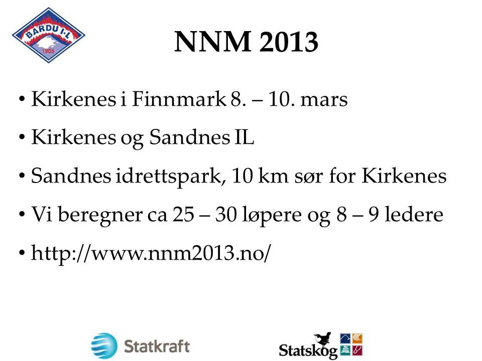 NNM 2013 Kirkenes i Finnmark 8. – 10. mars Kirkenes og Sandnes IL Sandnes idrettspark, 10 km sør for Kirkenes Vi beregner ca 25 – 30 løpere og 8 – 9 l