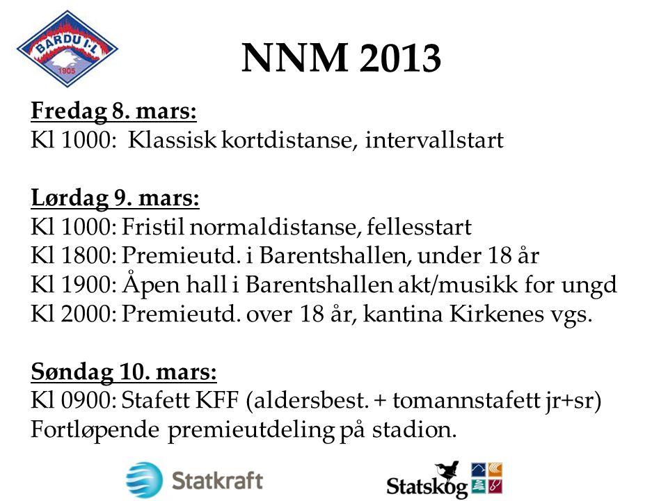 NNM 2013 Fredag 8. mars: Kl 1000: Klassisk kortdistanse, intervallstart Lørdag 9. mars: Kl 1000: Fristil normaldistanse, fellesstart Kl 1800: Premieut