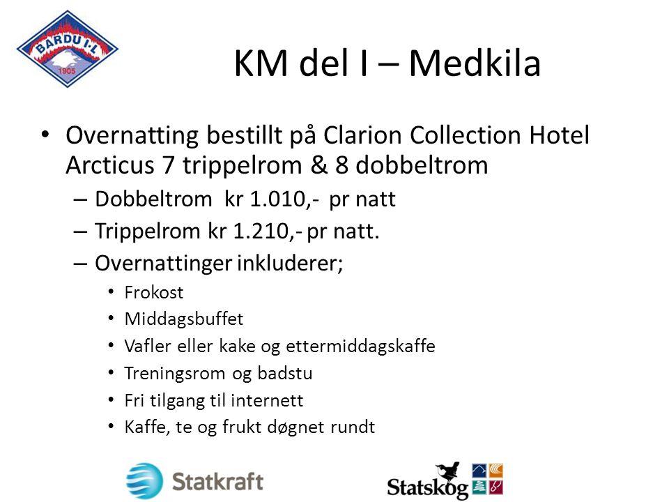 KM del I – Medkila Overnatting bestillt på Clarion Collection Hotel Arcticus 7 trippelrom & 8 dobbeltrom – Dobbeltrom kr 1.010,- pr natt – Trippelrom kr 1.210,- pr natt.