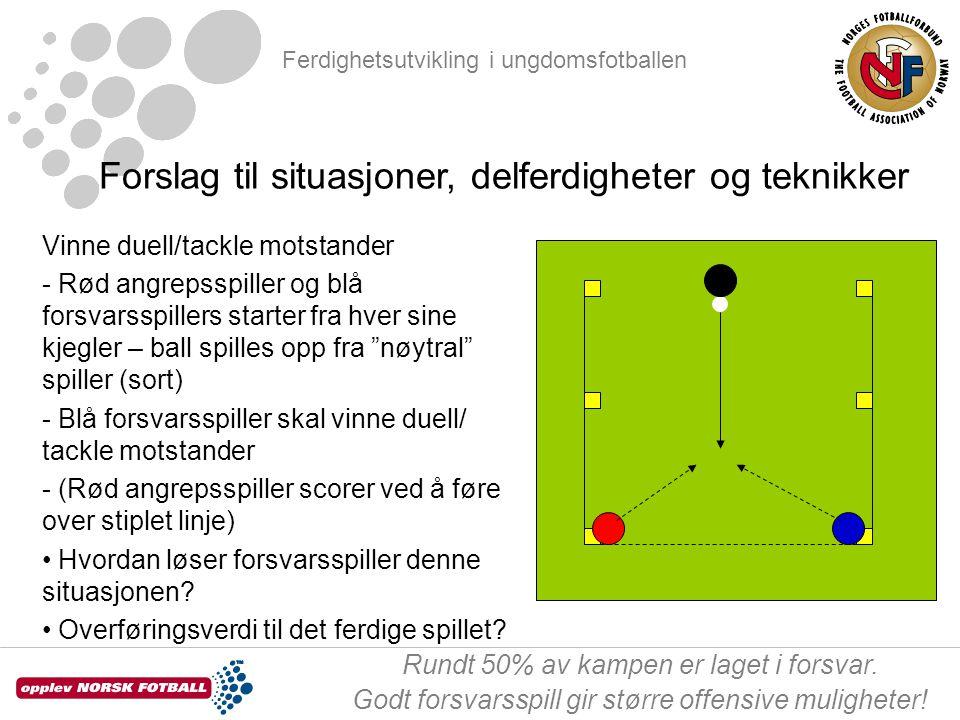 Ferdighetsutvikling i ungdomsfotballen Rundt 50% av kampen er laget i forsvar. Godt forsvarsspill gir større offensive muligheter! Forslag til situasj