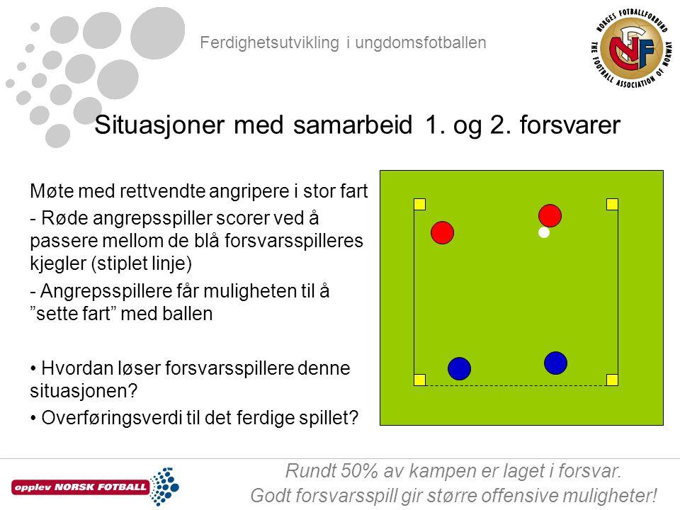 Ferdighetsutvikling i ungdomsfotballen Rundt 50% av kampen er laget i forsvar. Godt forsvarsspill gir større offensive muligheter! Situasjoner med sam
