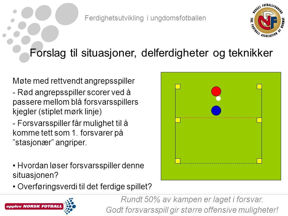 Ferdighetsutvikling i ungdomsfotballen Rundt 50% av kampen er laget i forsvar.
