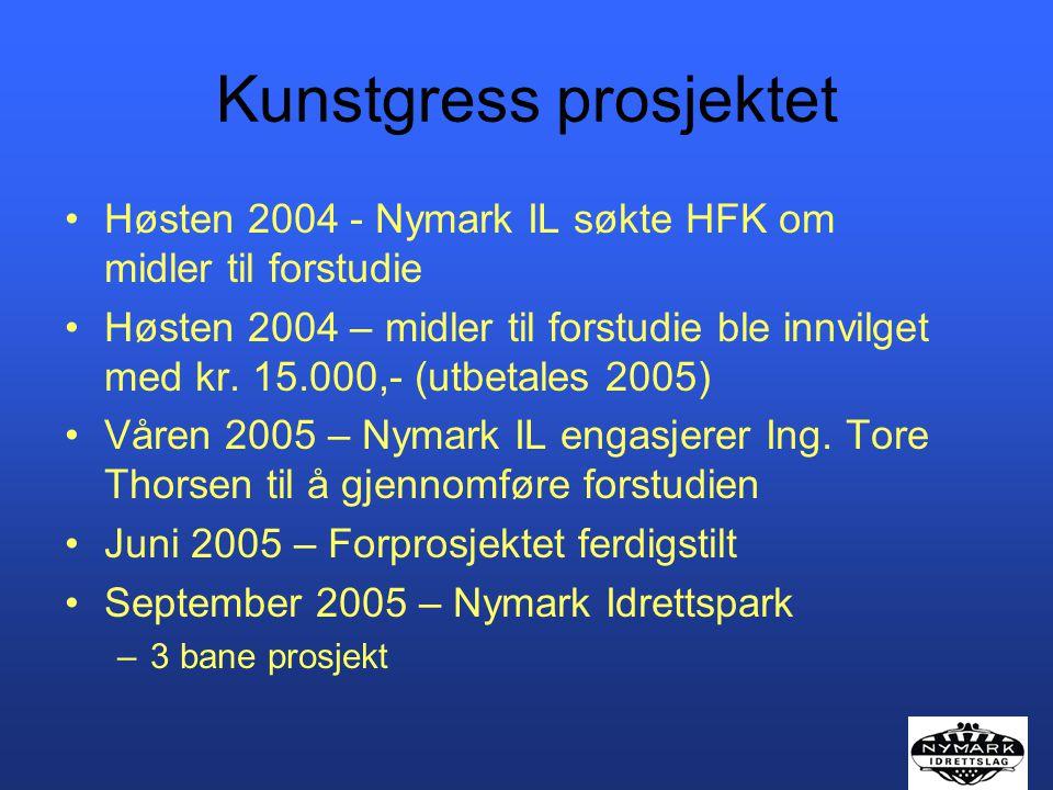 Kunstgress prosjektet Høsten 2004 - Nymark IL søkte HFK om midler til forstudie Høsten 2004 – midler til forstudie ble innvilget med kr. 15.000,- (utb