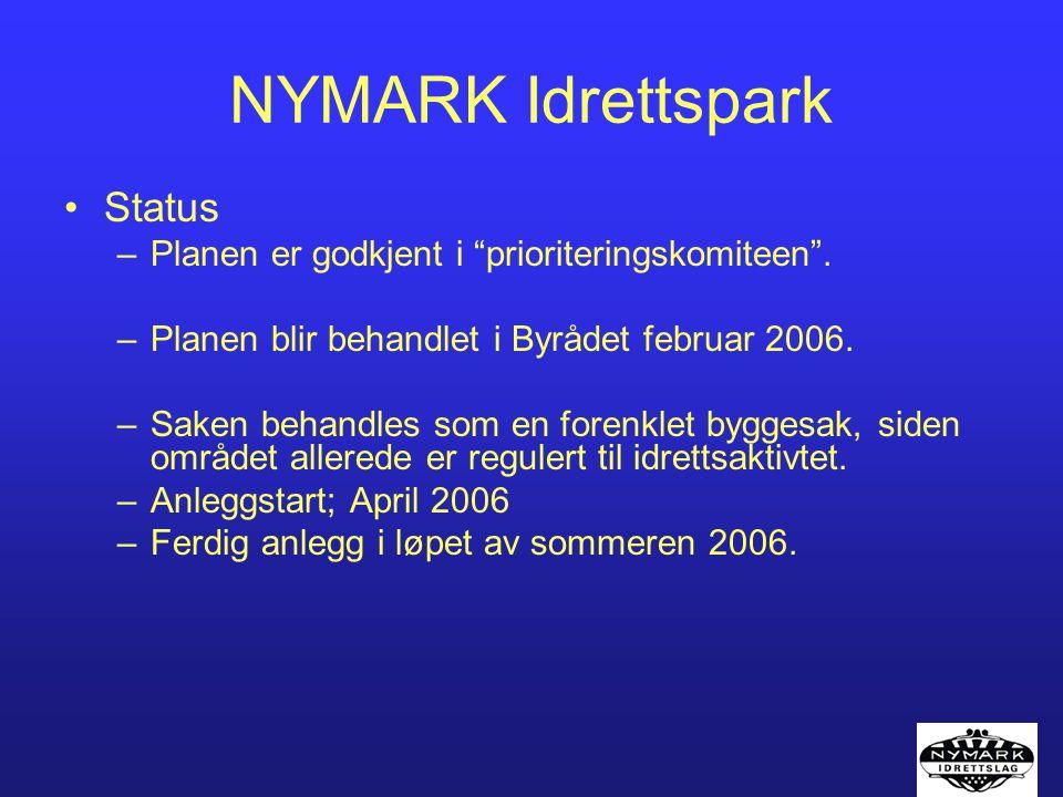 """NYMARK Idrettspark Status –Planen er godkjent i """"prioriteringskomiteen"""". –Planen blir behandlet i Byrådet februar 2006. –Saken behandles som en forenk"""