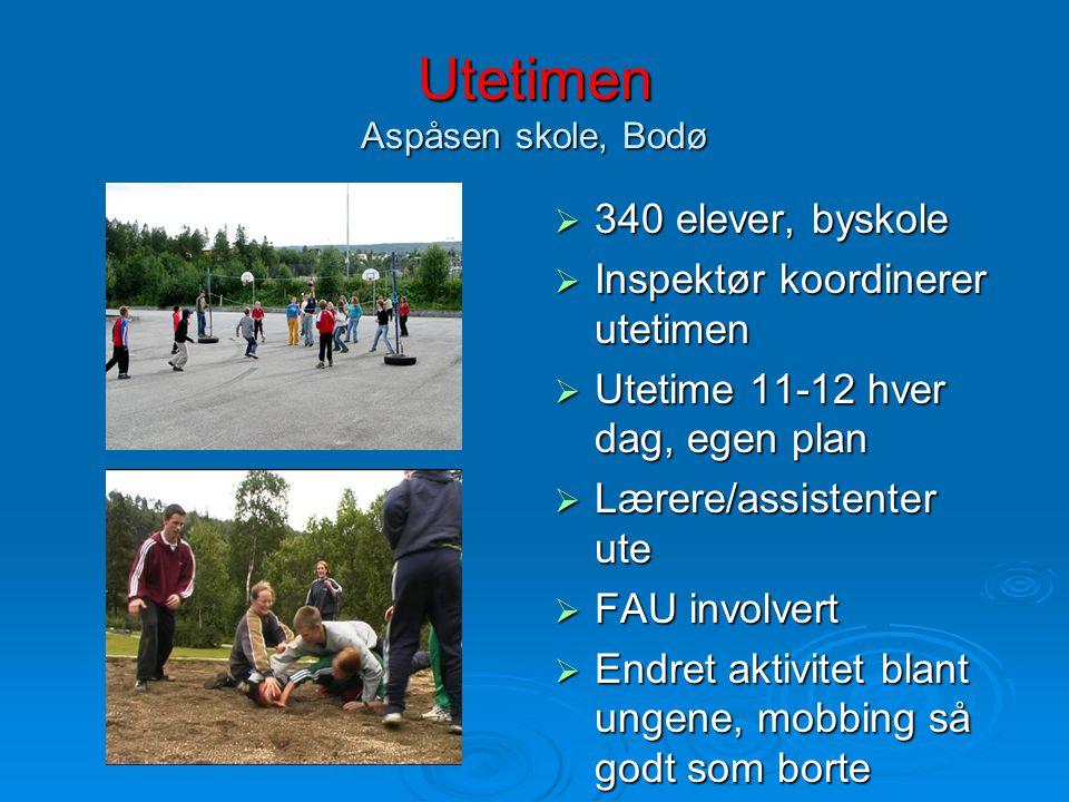 Utetimen Aspåsen skole, Bodø  340 elever, byskole  Inspektør koordinerer utetimen  Utetime 11-12 hver dag, egen plan  Lærere/assistenter ute  FAU