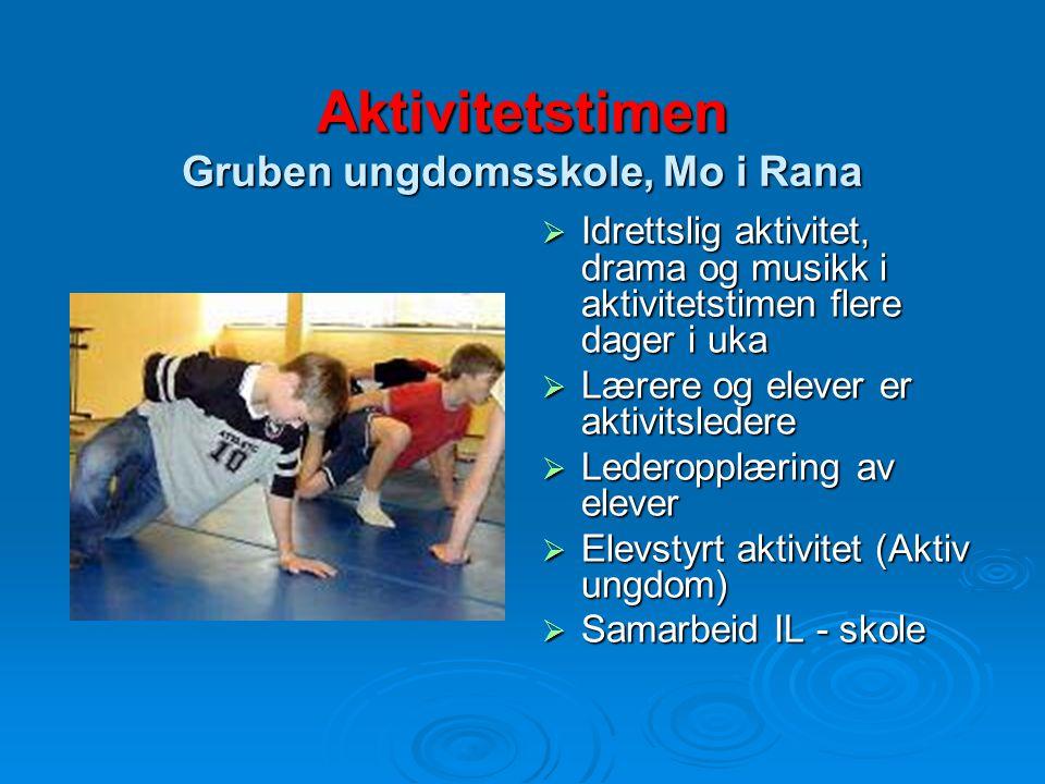 Aktivitetstimen Gruben ungdomsskole, Mo i Rana  Idrettslig aktivitet, drama og musikk i aktivitetstimen flere dager i uka  Lærere og elever er aktiv