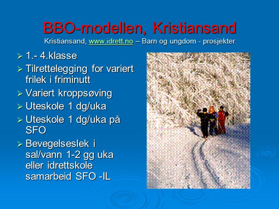BBO-modellen, Kristiansand Kristiansand, www.idrett.no – Barn og ungdom - prosjekter www.idrett.no  1.- 4.klasse  Tilrettelegging for variert frilek