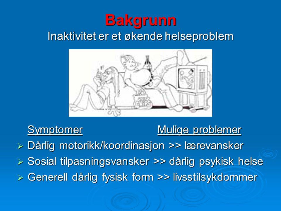 Bakgrunn Inaktivitet er et økende helseproblem SymptomerMulige problemer  Dårlig motorikk/koordinasjon >> lærevansker  Sosial tilpasningsvansker >>
