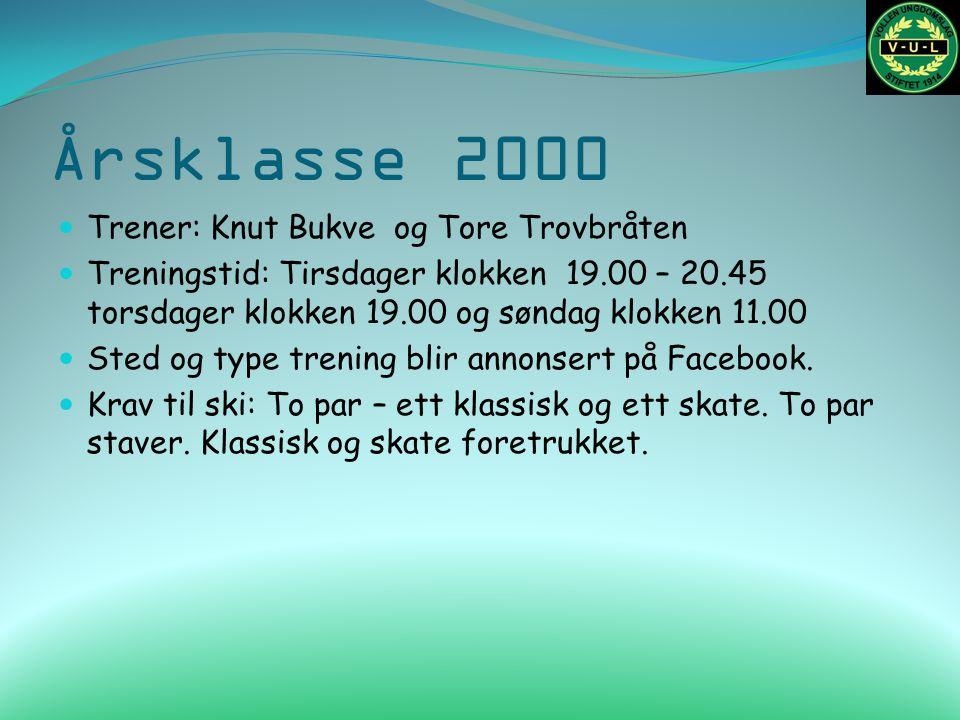 Årsklasse 2000 Trener: Knut Bukve og Tore Trovbråten Treningstid: Tirsdager klokken 19.00 – 20.45 torsdager klokken 19.00 og søndag klokken 11.00 Sted