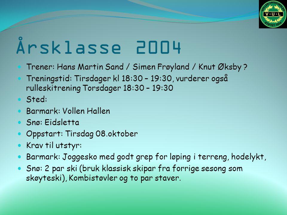 Årsklasse 2004 Trener: Hans Martin Sand / Simen Frøyland / Knut Øksby ? Treningstid: Tirsdager kl 18:30 – 19:30, vurderer også rulleskitrening Torsdag