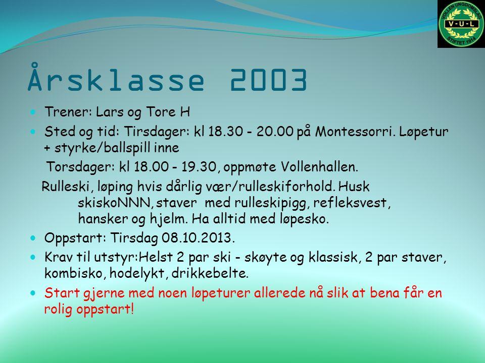 Årsklasse 2003 Trener: Lars og Tore H Sted og tid: Tirsdager: kl 18.30 - 20.00 på Montessorri. Løpetur + styrke/ballspill inne Torsdager: kl 18.00 - 1