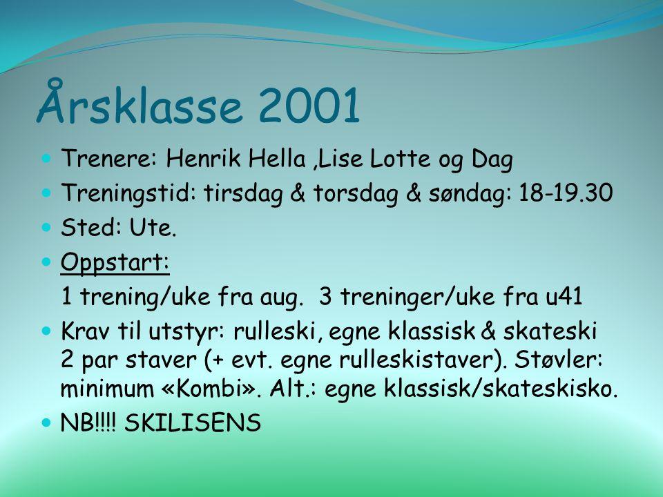 Årsklasse 2001 Trenere: Henrik Hella,Lise Lotte og Dag Treningstid: tirsdag & torsdag & søndag: 18-19.30 Sted: Ute. Oppstart: 1 trening/uke fra aug. 3