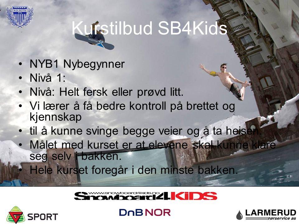 Kurstilbud SB4Kids NYB1 Nybegynner Nivå 1: Nivå: Helt fersk eller prøvd litt. Vi lærer å få bedre kontroll på brettet og kjennskap til å kunne svinge