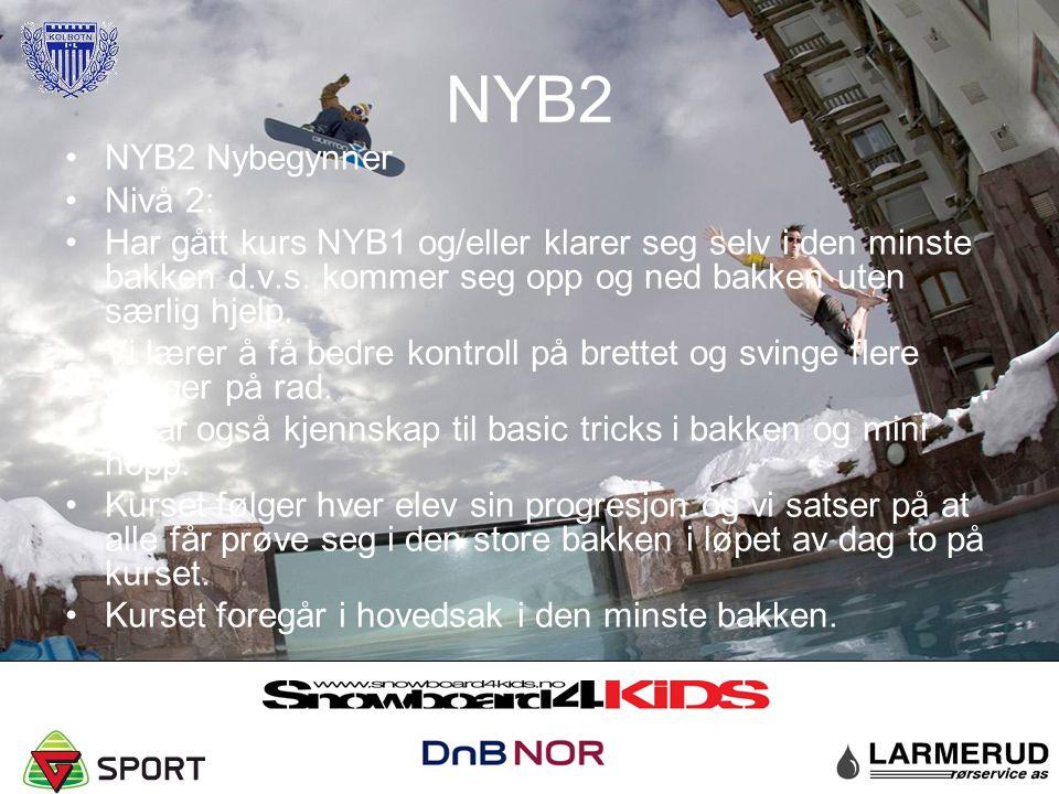 NYB2 NYB2 Nybegynner Nivå 2: Har gått kurs NYB1 og/eller klarer seg selv i den minste bakken d.v.s. kommer seg opp og ned bakken uten særlig hjelp. Vi