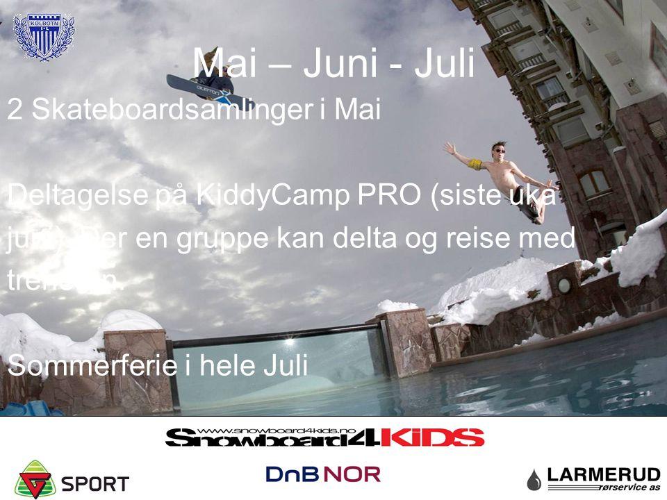 Mai – Juni - Juli 2 Skateboardsamlinger i Mai Deltagelse på KiddyCamp PRO (siste uka juni). Der en gruppe kan delta og reise med treneren. Sommerferie