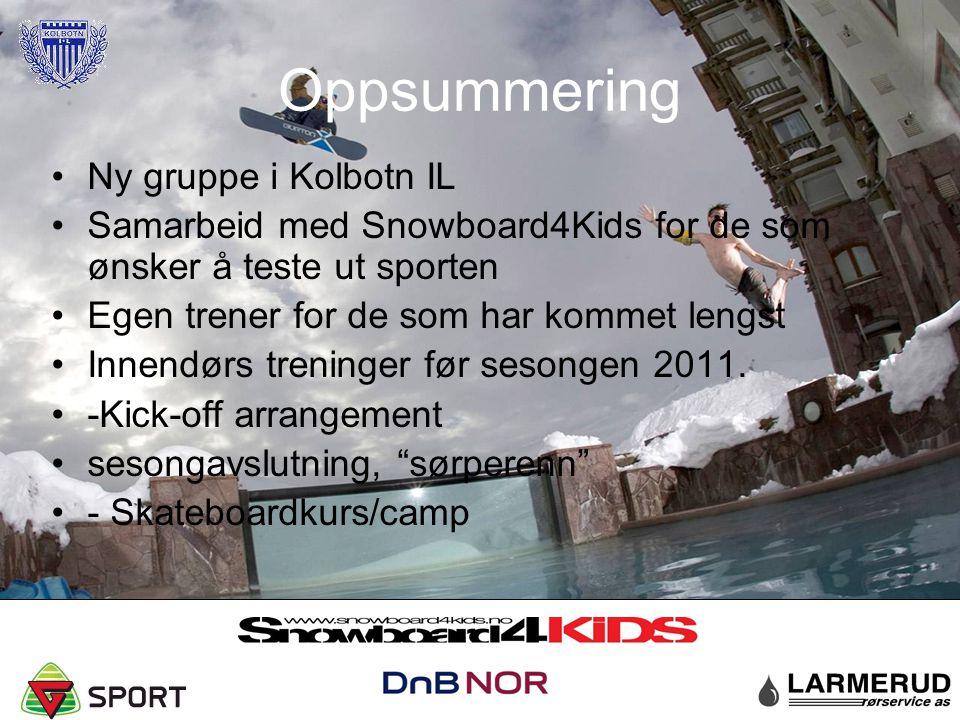 Oppsummering Ny gruppe i Kolbotn IL Samarbeid med Snowboard4Kids for de som ønsker å teste ut sporten Egen trener for de som har kommet lengst Innendø