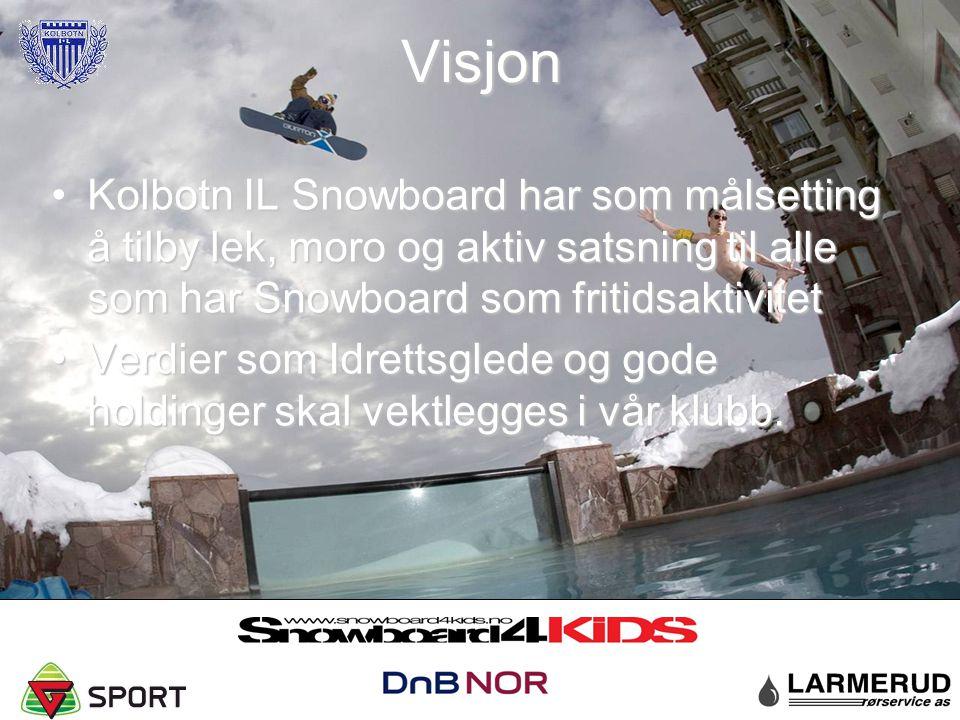 Visjon Kolbotn IL Snowboard har som målsetting å tilby lek, moro og aktiv satsning til alle som har Snowboard som fritidsaktivitetKolbotn IL Snowboard