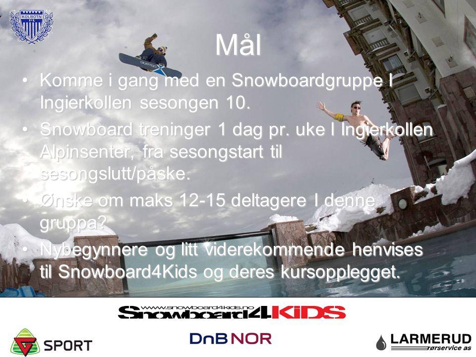 Mål Komme i gang med en Snowboardgruppe I Ingierkollen sesongen 10.Komme i gang med en Snowboardgruppe I Ingierkollen sesongen 10. Snowboard treninger