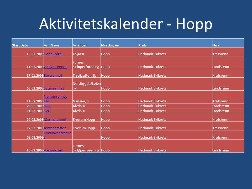 Aktivitetskalender - Hopp Start DatoArr.