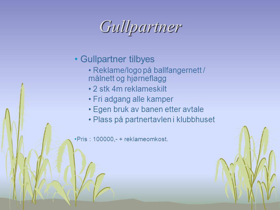 Gullpartner Gullpartner tilbyes Reklame/logo på ballfangernett / målnett og hjørneflagg 2 stk 4m reklameskilt Fri adgang alle kamper Egen bruk av bane