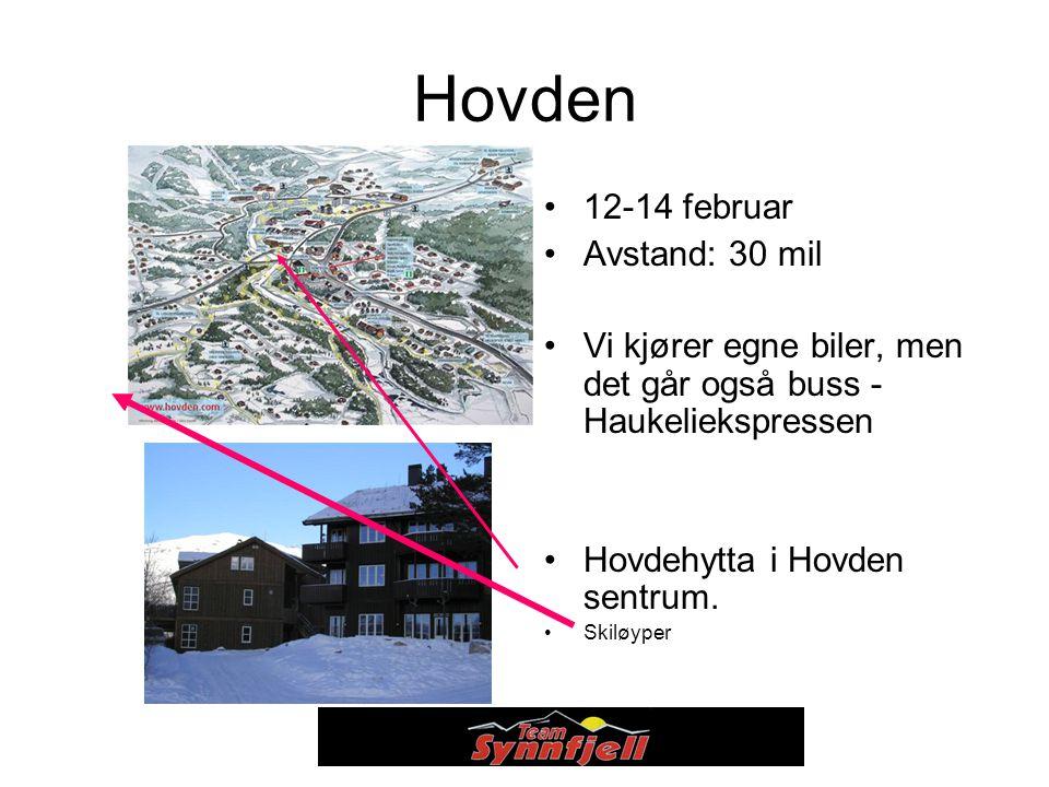 Hovden 12-14 februar Avstand: 30 mil Vi kjører egne biler, men det går også buss - Haukeliekspressen Hovdehytta i Hovden sentrum.