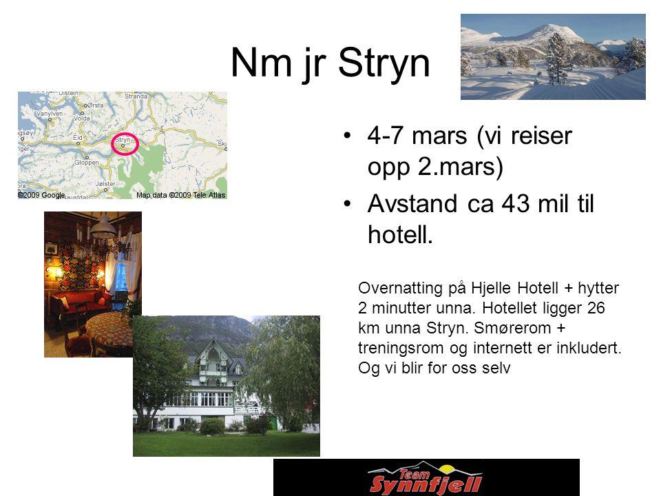 Nm jr Stryn 4-7 mars (vi reiser opp 2.mars) Avstand ca 43 mil til hotell.