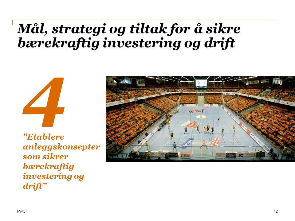 """PwC Mål, strategi og tiltak for å sikre bærekraftig investering og drift 12 4 """"Etablere anleggskonsepter som sikrer bærekraftig investering og drift"""""""