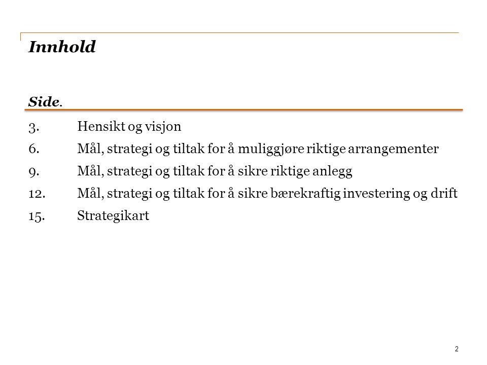 Innhold 3.Hensikt og visjon 6.Mål, strategi og tiltak for å muliggjøre riktige arrangementer 9.Mål, strategi og tiltak for å sikre riktige anlegg 12.M