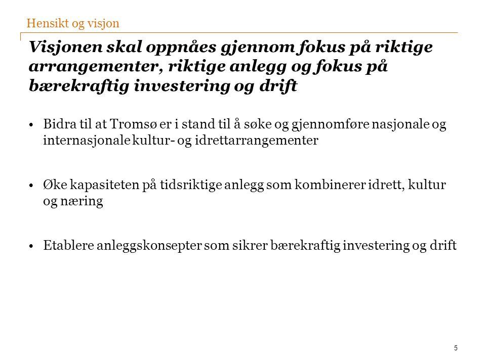 Visjonen skal oppnåes gjennom fokus på riktige arrangementer, riktige anlegg og fokus på bærekraftig investering og drift Bidra til at Tromsø er i sta