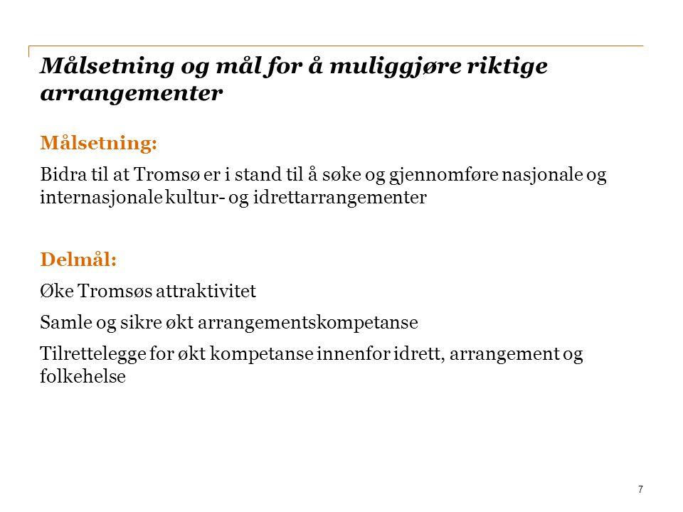 Målsetning og mål for å muliggjøre riktige arrangementer Målsetning: Bidra til at Tromsø er i stand til å søke og gjennomføre nasjonale og internasjon