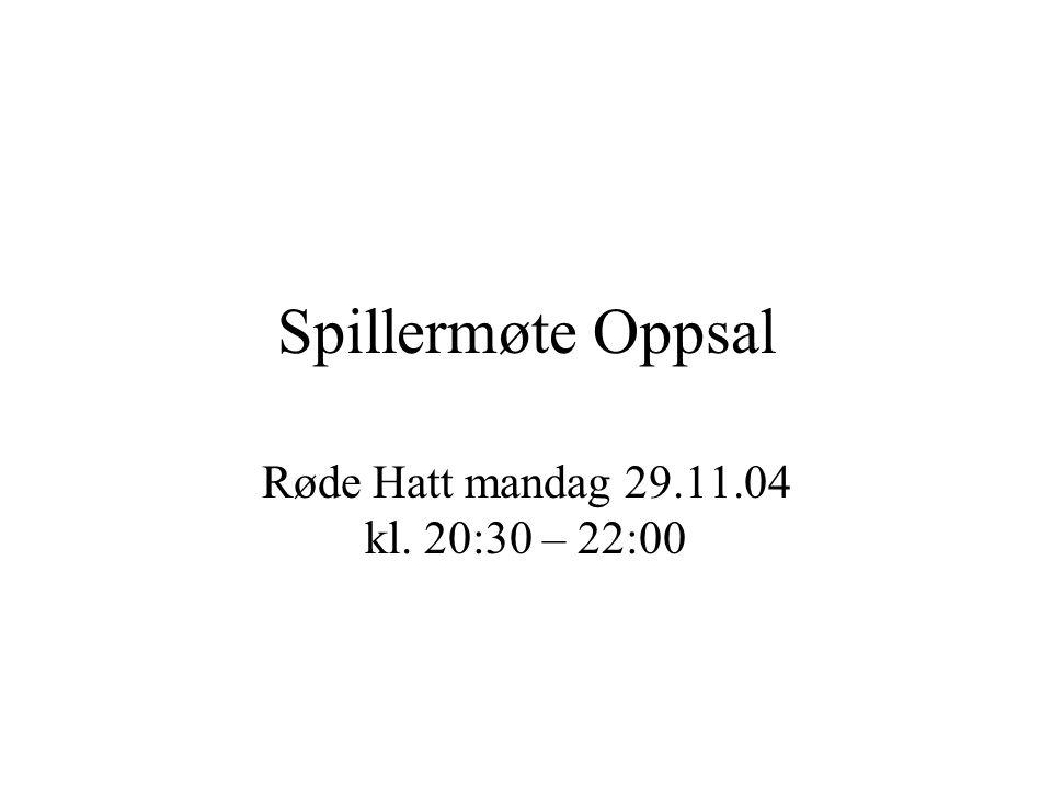 Spillermøte Oppsal Røde Hatt mandag 29.11.04 kl. 20:30 – 22:00