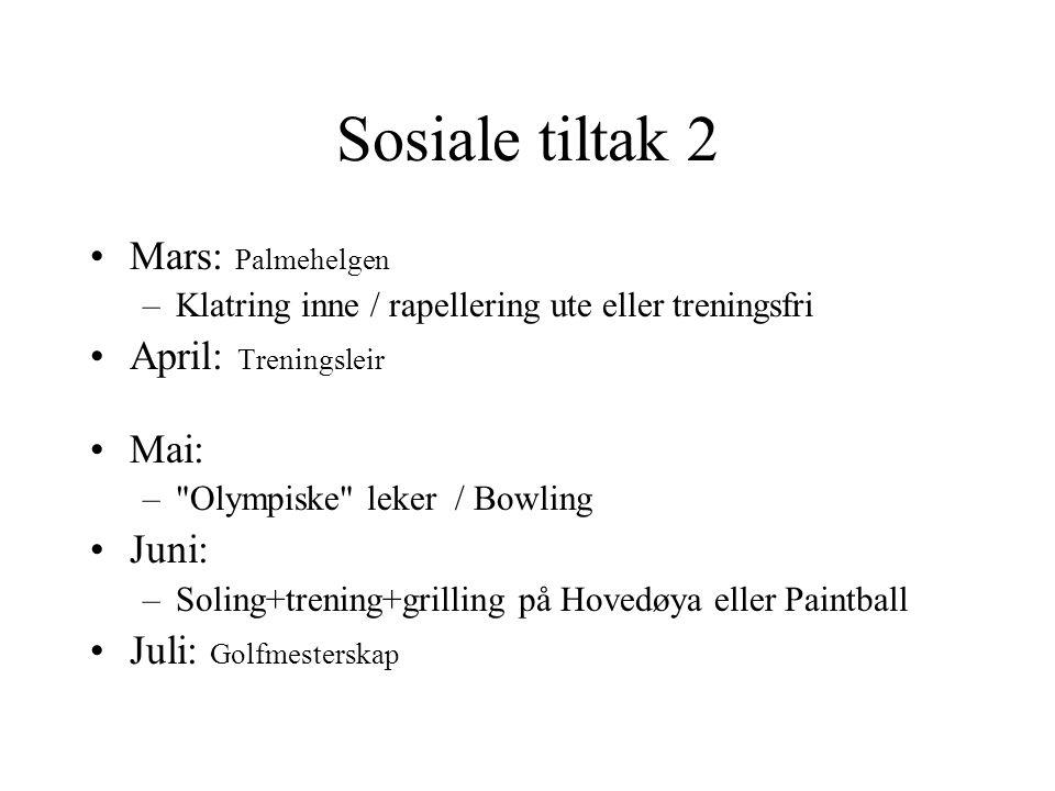 Sosiale tiltak 2 Mars: Palmehelgen –Klatring inne / rapellering ute eller treningsfri April: Treningsleir Mai: –