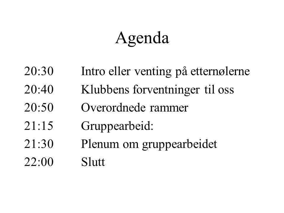 Agenda 20:30Intro eller venting på etternølerne 20:40Klubbens forventninger til oss 20:50Overordnede rammer 21:15Gruppearbeid: 21:30Plenum om gruppearbeidet 22:00Slutt
