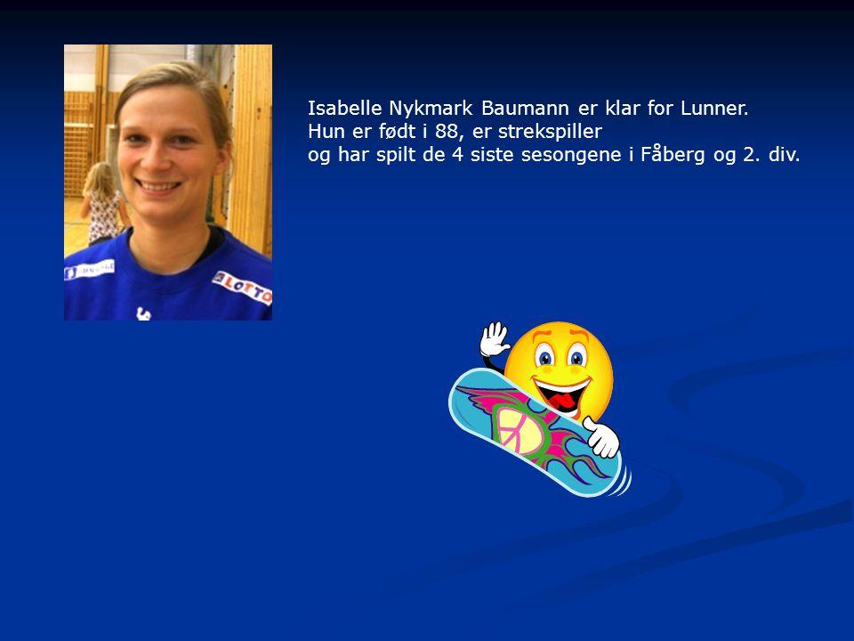 Isabelle Nykmark Baumann er klar for Lunner.