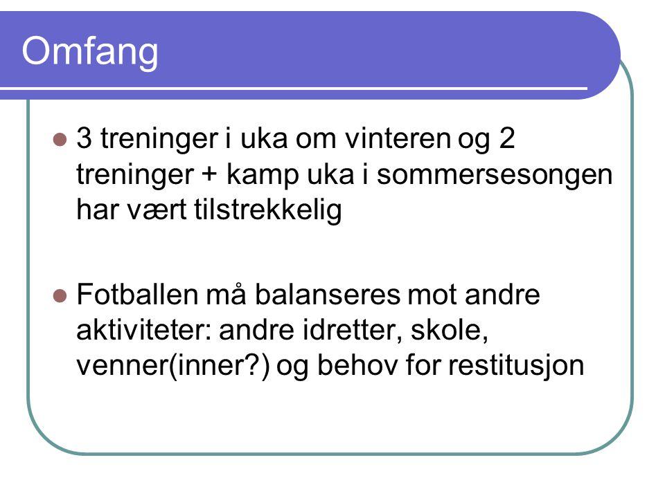 Omfang 3 treninger i uka om vinteren og 2 treninger + kamp uka i sommersesongen har vært tilstrekkelig Fotballen må balanseres mot andre aktiviteter: andre idretter, skole, venner(inner ) og behov for restitusjon
