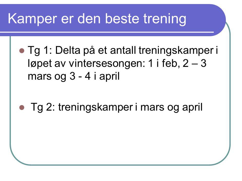 Kamper er den beste trening Tg 1: Delta på et antall treningskamper i løpet av vintersesongen: 1 i feb, 2 – 3 mars og 3 - 4 i april Tg 2: treningskamper i mars og april