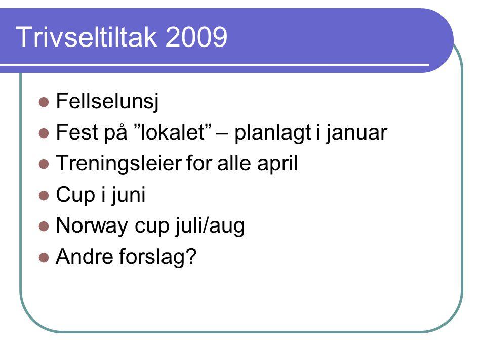 Trivseltiltak 2009 Fellselunsj Fest på lokalet – planlagt i januar Treningsleier for alle april Cup i juni Norway cup juli/aug Andre forslag