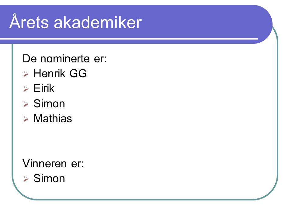 Årets akademiker De nominerte er:  Henrik GG  Eirik  Simon  Mathias Vinneren er:  Simon