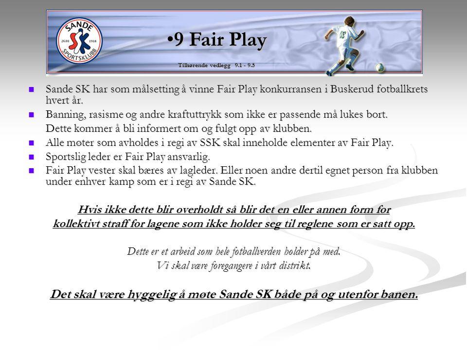 Sande SK har som målsetting å vinne Fair Play konkurransen i Buskerud fotballkrets hvert år. Sande SK har som målsetting å vinne Fair Play konkurranse