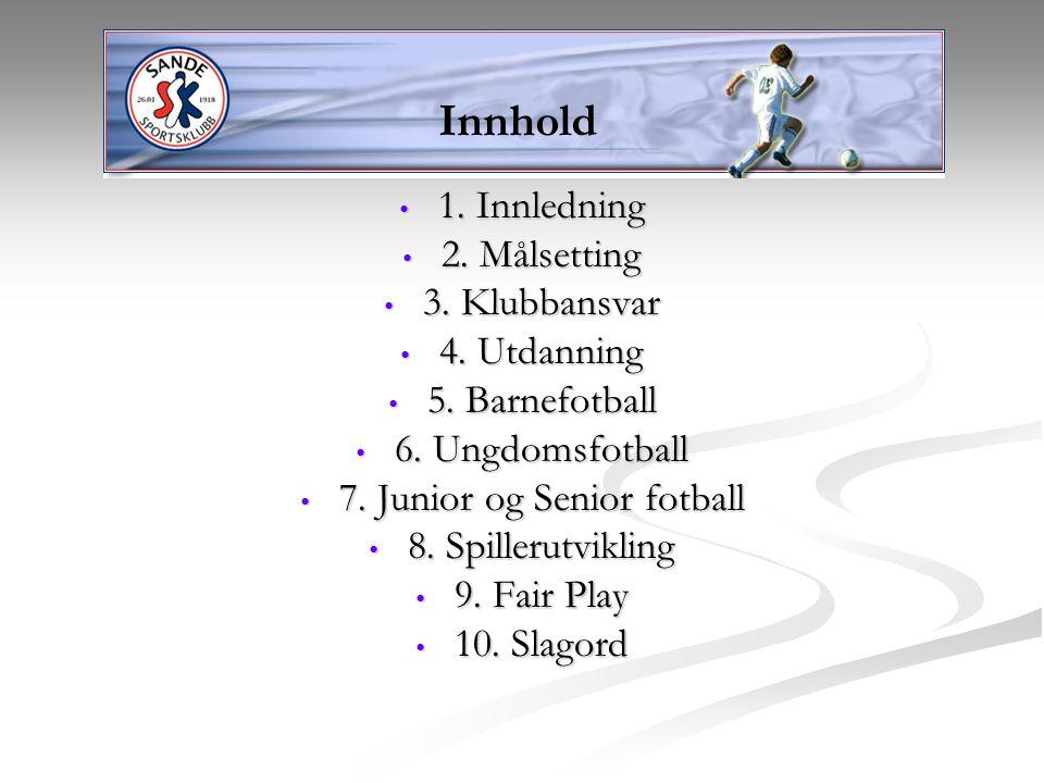 1. Innledning 1. Innledning 2. Målsetting 2. Målsetting 3. Klubbansvar 3. Klubbansvar 4. Utdanning 4. Utdanning 5. Barnefotball 5. Barnefotball 6. Ung