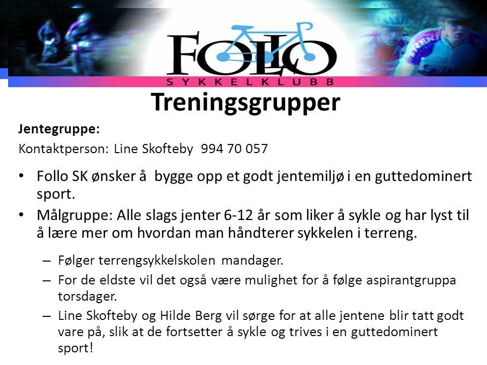 Treningsgrupper Jentegruppe: Kontaktperson: Line Skofteby 994 70 057 Follo SK ønsker å bygge opp et godt jentemiljø i en guttedominert sport. Målgrupp