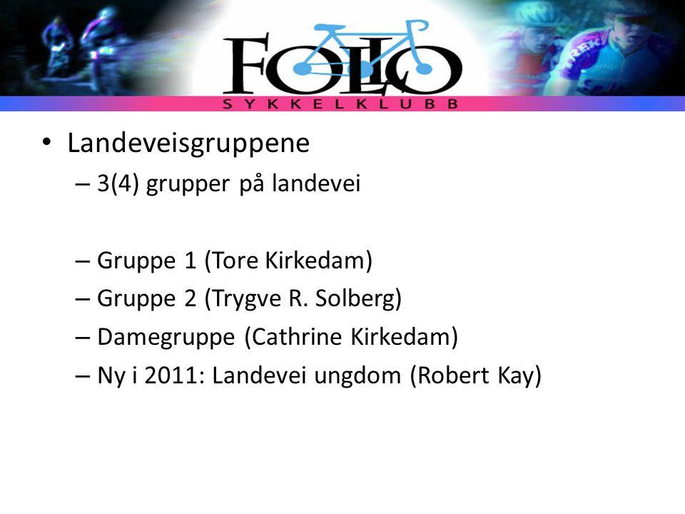 Landeveisgruppene – 3(4) grupper på landevei – Gruppe 1 (Tore Kirkedam) – Gruppe 2 (Trygve R. Solberg) – Damegruppe (Cathrine Kirkedam) – Ny i 2011: L