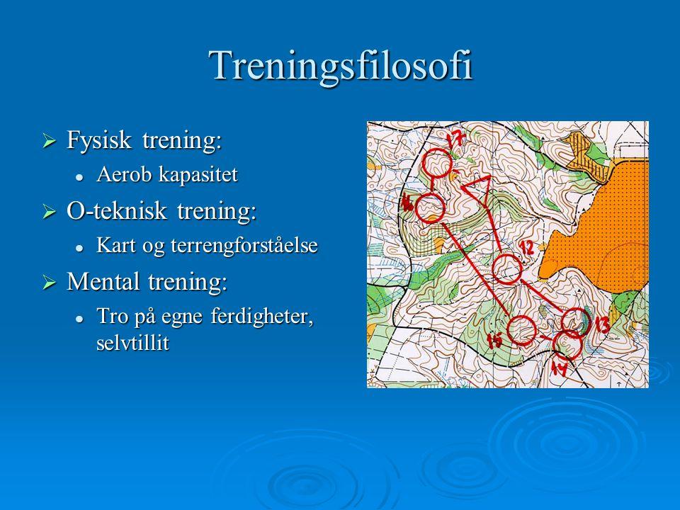 Treningsfilosofi  Fysisk trening: Aerob kapasitet Aerob kapasitet  O-teknisk trening: Kart og terrengforståelse Kart og terrengforståelse  Mental trening: Tro på egne ferdigheter, selvtillit Tro på egne ferdigheter, selvtillit